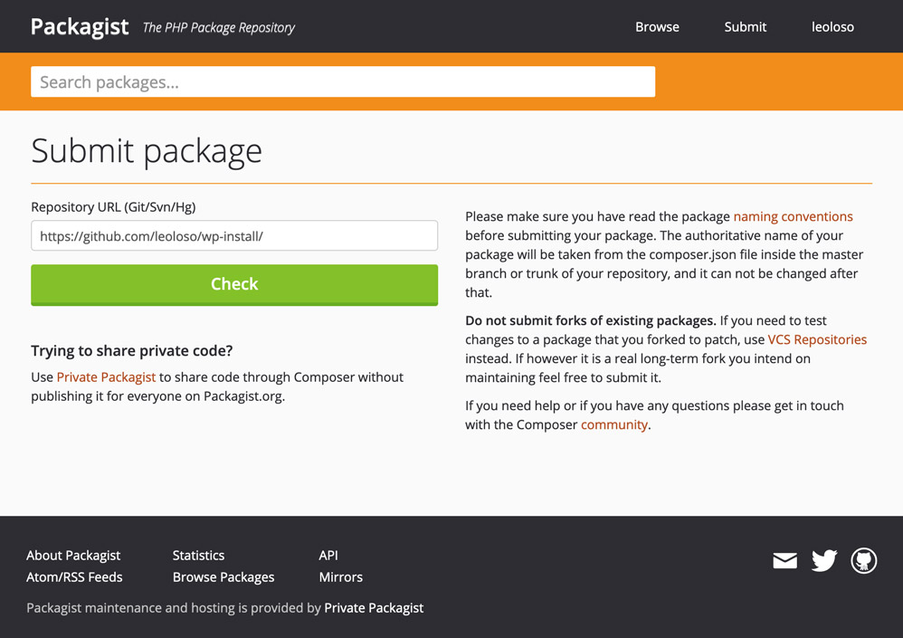 Packagist submission page