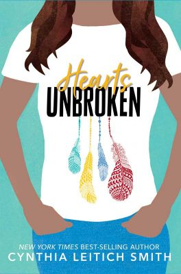 Cover art for Hearts Unbroken shows a drawn torso of a girl with long brown hair in jeans and a T-shirt. The T-shirt's printing says Hearts UNBROKEN with four feathers beneath the text.
