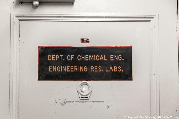 Prentis Hall Department of Chemical Engineering sign