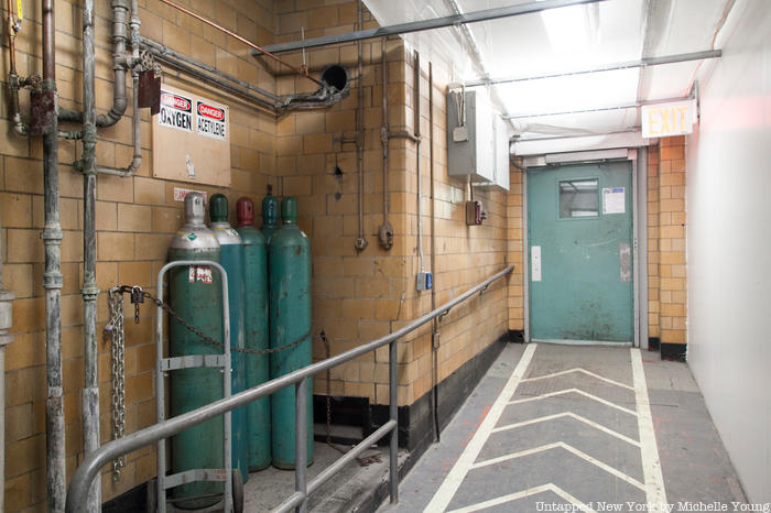 Oxygen tanks inside Prentis Hall