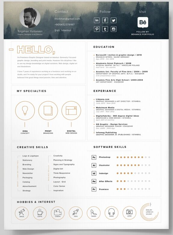 Self Promotion Resume Template PSD