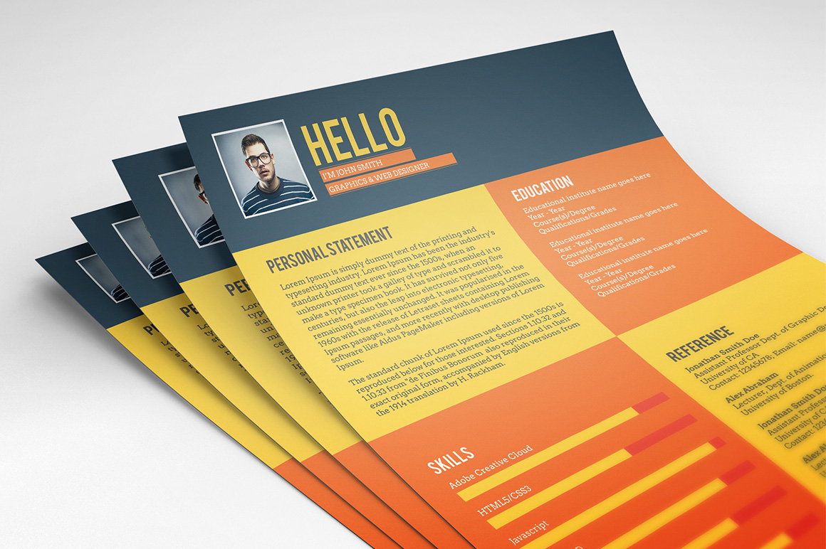 Flat Style Resume Template (Freebie)