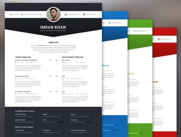 FREE Resume Template PSD (4 Color)