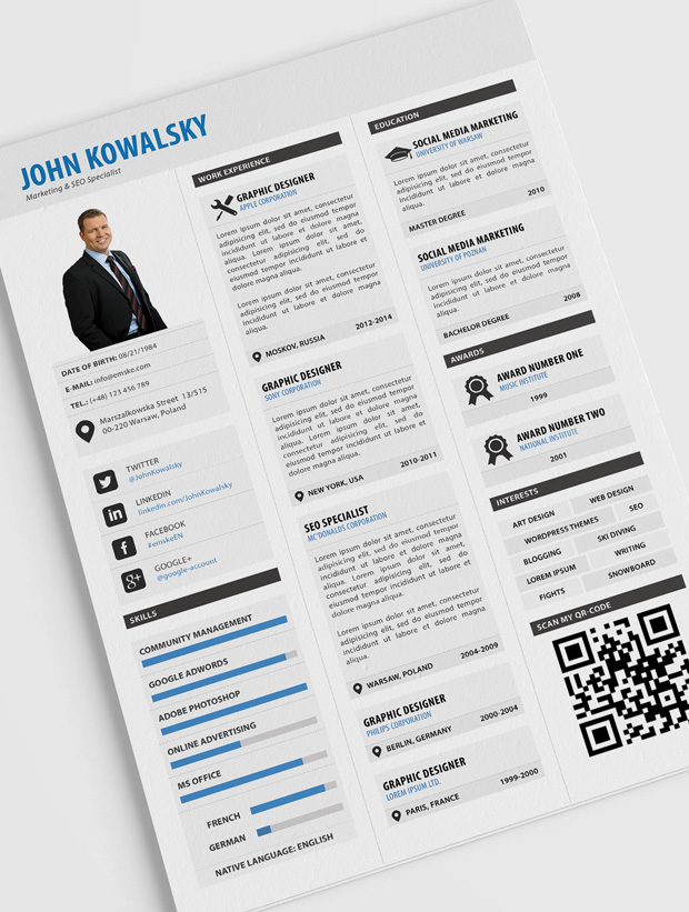 Professional Resume Template (PSD, PDF)