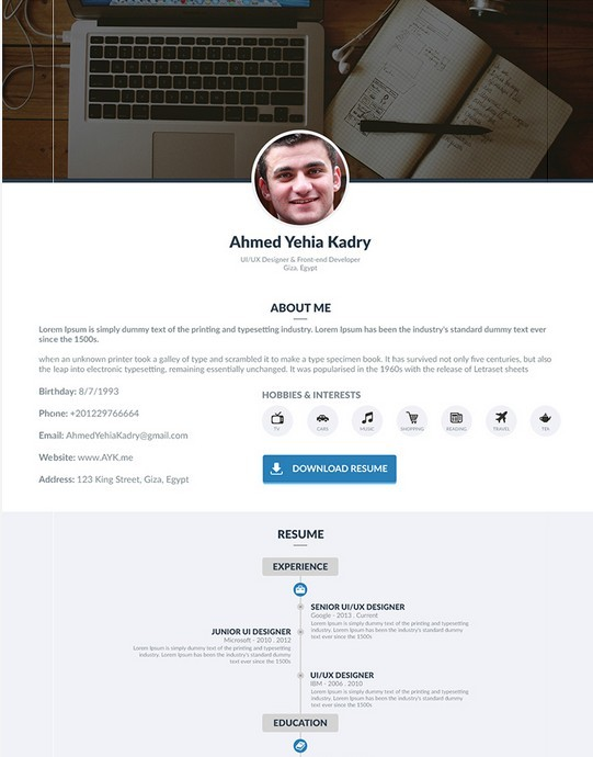 Free Single Page Resume PSD Template