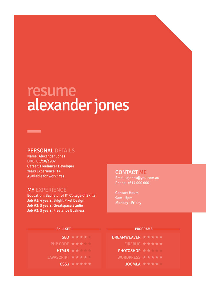Free Orange Flat Style Resume PSD