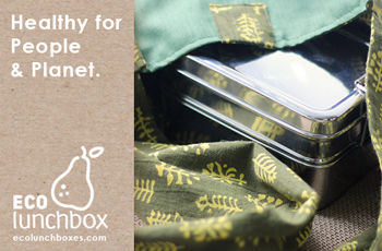 Classic stainless steel bento boxes and cotton lunch bags.