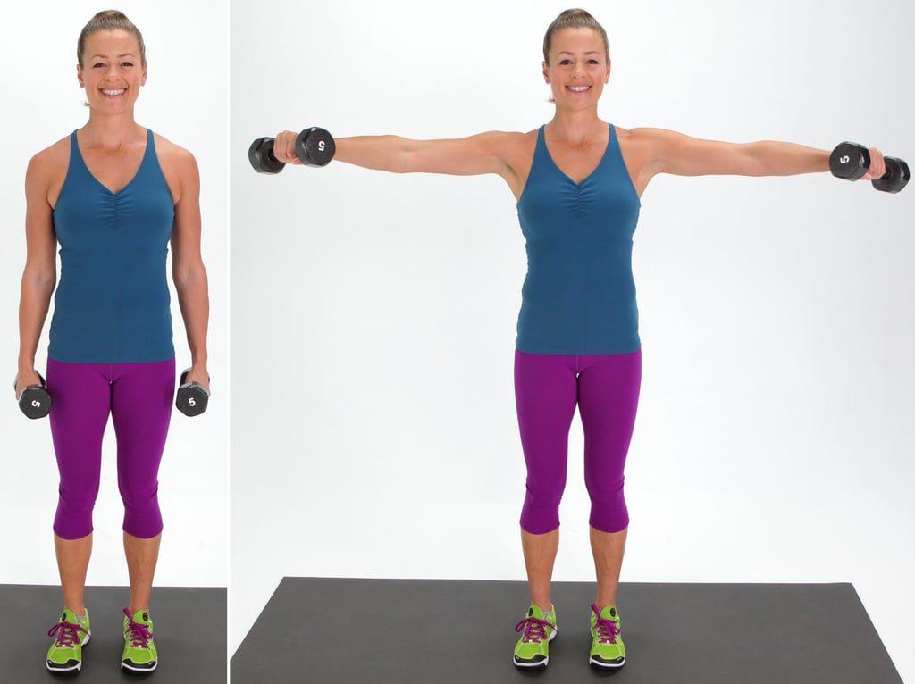 Arm raise to tighten busts