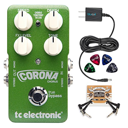TC Electronic Corona Chorus Pedal with TonePrint Bundle with Blucoil Power Supply Slim AC/DC Adapter for 9 Volt DC 670mA, 2-Pack of Pedal Patch Cables and 4-Pack of Celluloid Guitar Picks