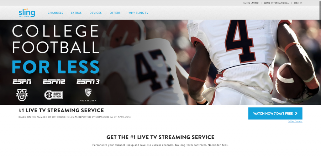 sling tv streaming espn without cable alternatives internet tv