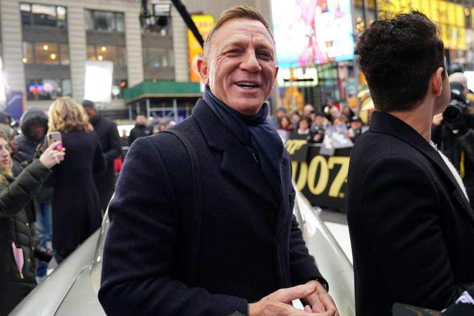 Actor Daniel Craig together with actor Rami Malek on a commercial screening of James Bond director James Bond's No time to die in Times Square.