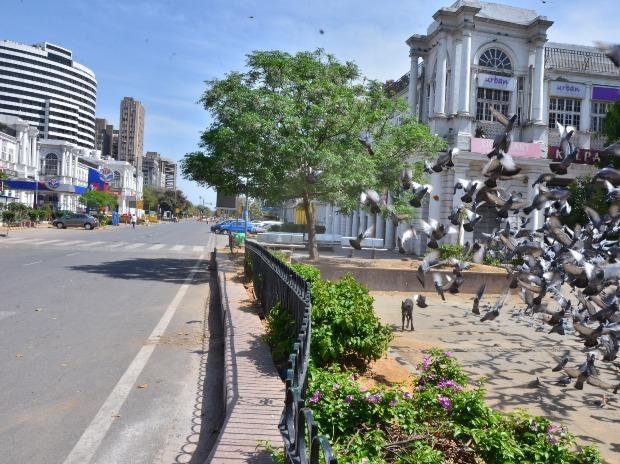 Connaught Place, a cult shopping destination, was abandoned on the first day of the blockade.