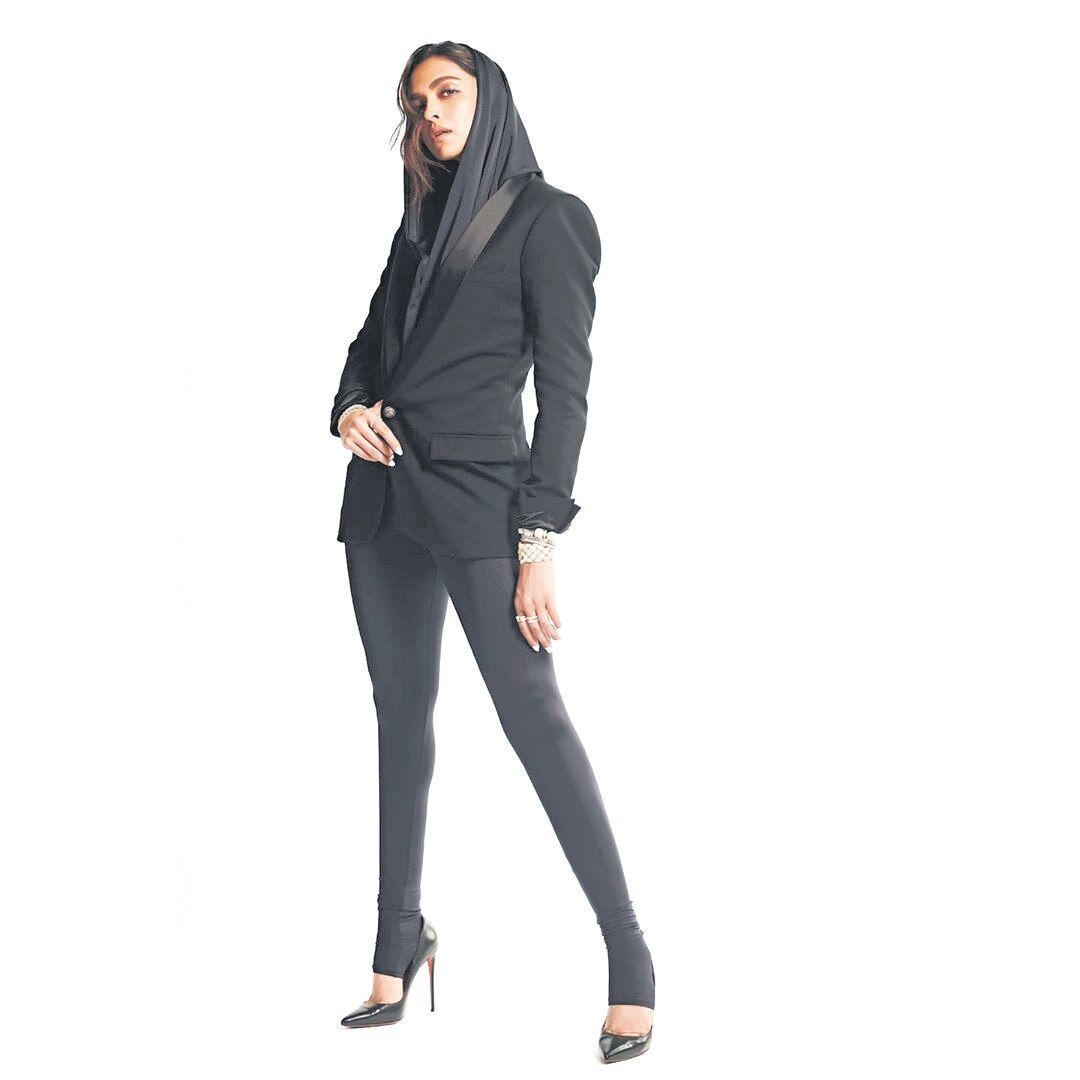 Deepika Padukone wore the Balman hooded suit she wore at the Mircea Awards last month.