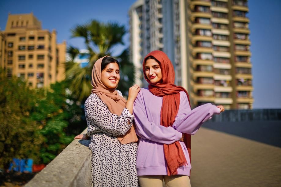 Fatima Mohammed (left) and Farkhin Naki of the small black hijab