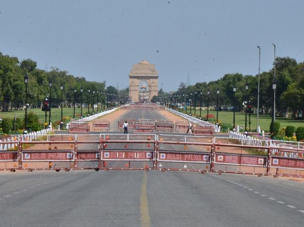 Raj Path looks deserted.