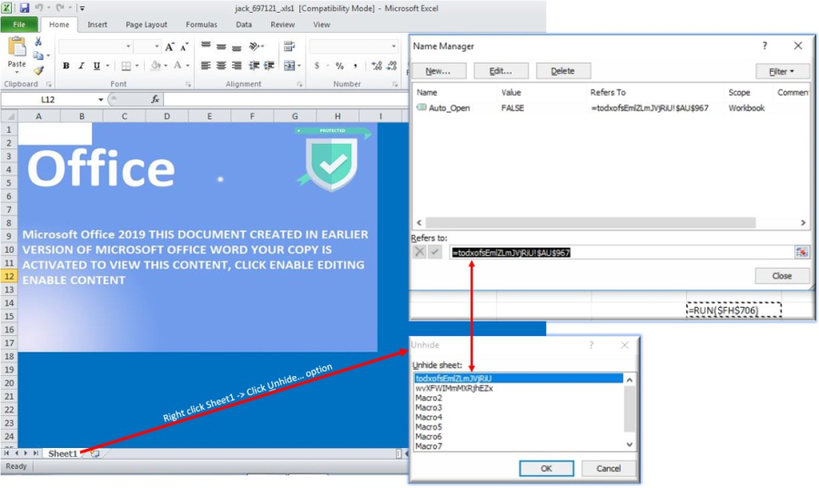 Excel Malspam: Protected Password … Not!