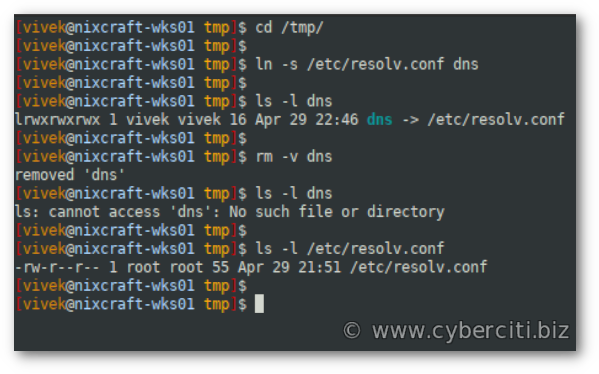 Remove Symbolic Link (Softlink)