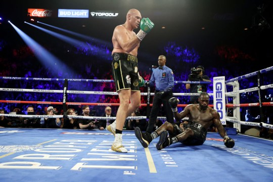 Deontey Wilder suffers his first career loss to Tyson Fury.