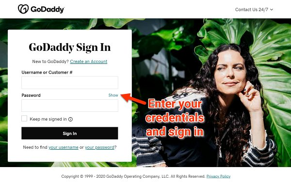 GoDaddy login page