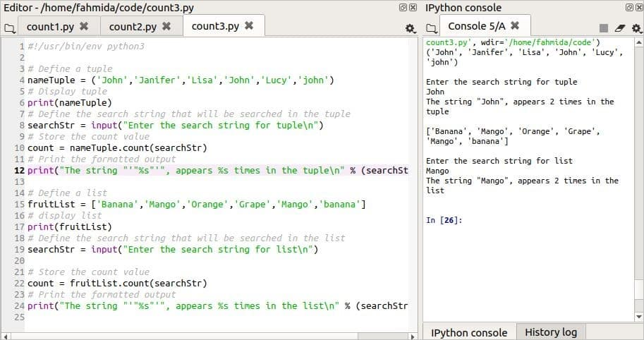 How to use the count) (method for python – Linux hint