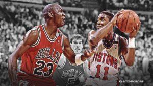Isaiah Thomas, the pistons, Michael Jordan, the bulls.