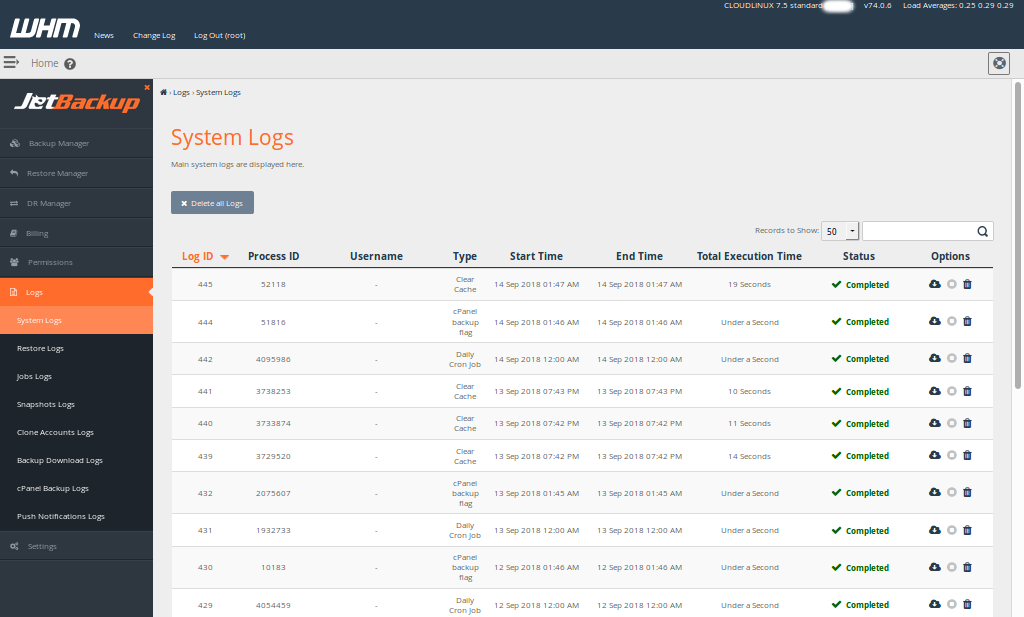 Options for WebHosts cPanel backup plugin