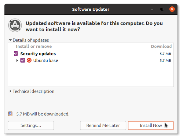 Ubuntu 20.04 Update installed security packages