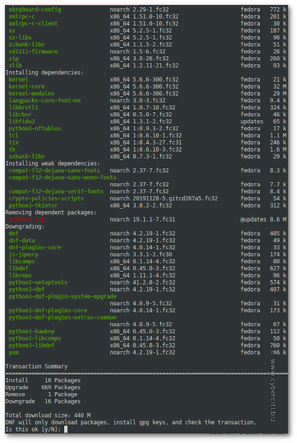 Upgrade Fedora 31 to Fedora 32 with the CLI