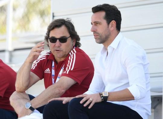 Arsenal Chiefs Raoul Sanlehy and Edu.