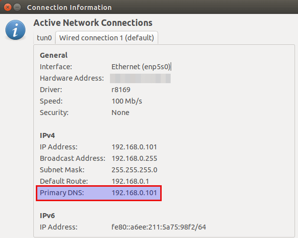 change dns server under linux