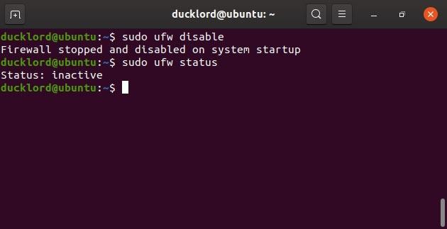 Disable Ubuntu control Disable Ufw firewall