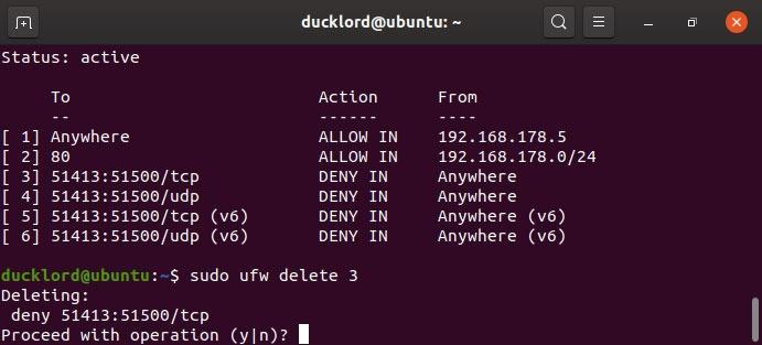 Disable Ubuntu firewall management Enable Ubuntu firewall management Delete line number