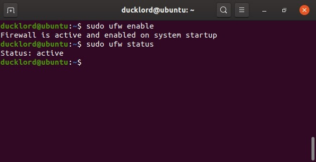Enable Ubuntu control Enable Ufw firewall