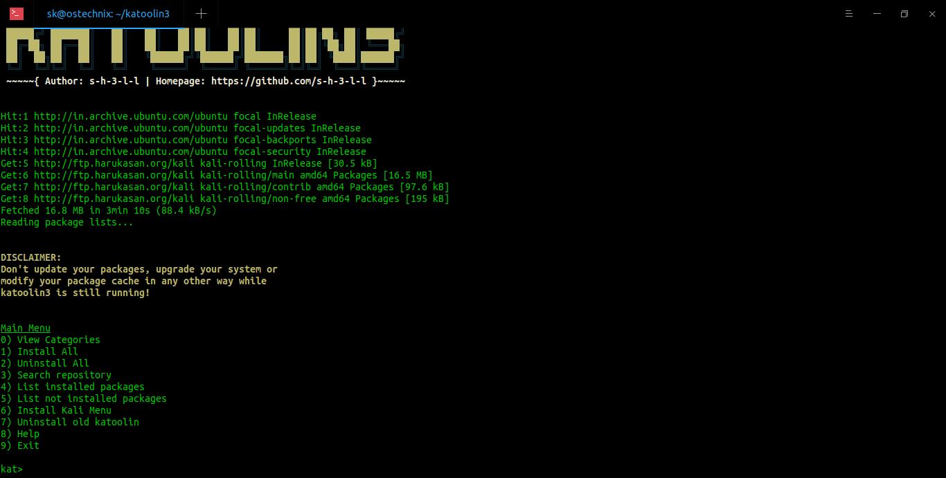 Install Kali Linux Tools Using Katoolin3 Ubuntu 20.04 LTS