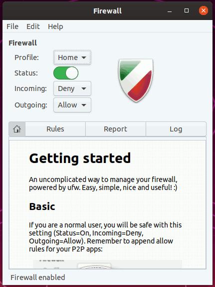 Gufw firewall enabled 1