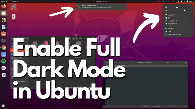 How to Enable Full Dark Mode on Ubuntu 20.04.
