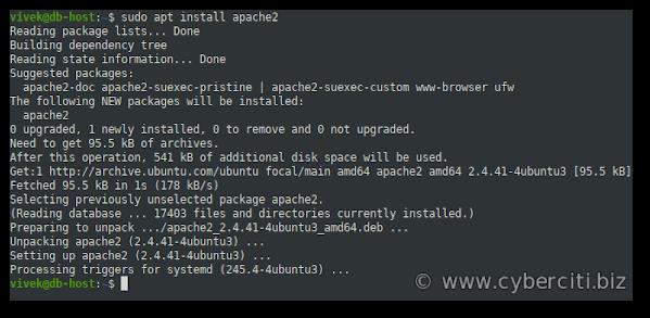 Install Apache on Ubuntu 20.04 LTS Linux