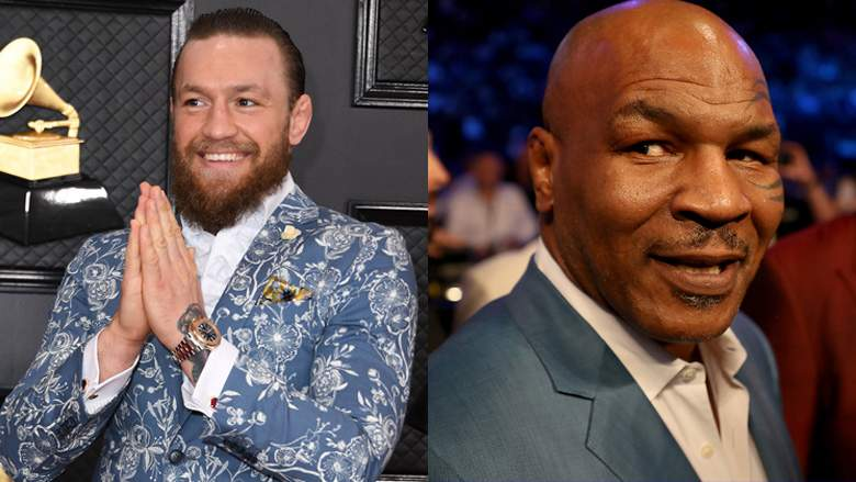 Left, Conor McGregor, right, Mike Tyson.