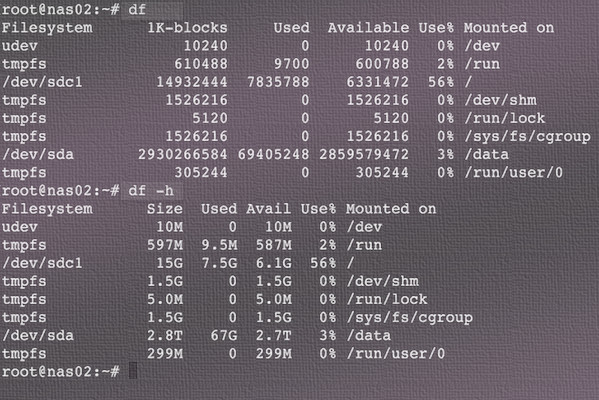 Linux check disk space with df command