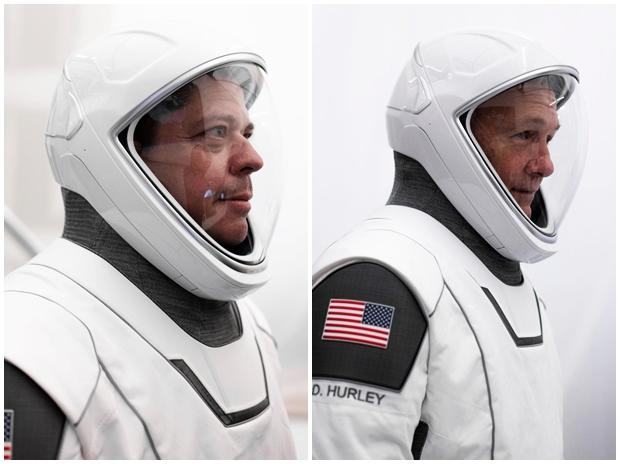 NASA astronauts Doug Hurley and Bob Behnken in the newly designed space suits for the new flight missions