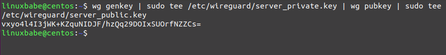 Private key for the status of the Centos-wireguard VPN server generator.