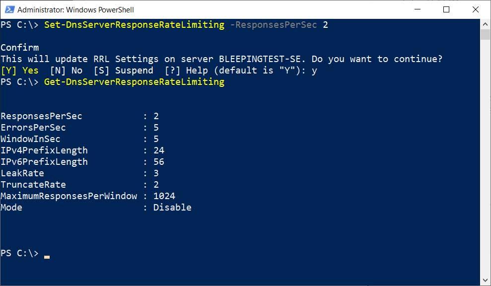 Set-DnserverResponseRateLimiting command