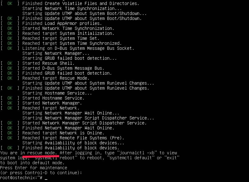 Starting in recovery mode in Ubuntu 20.04