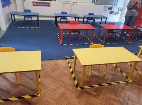 The classrooms will be empty, except for the desks, where the children will be separated two metres apart (Photo: Holiwell Village School).