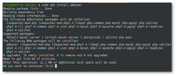 How to install Adminer for Ubuntu 20.04 LTS