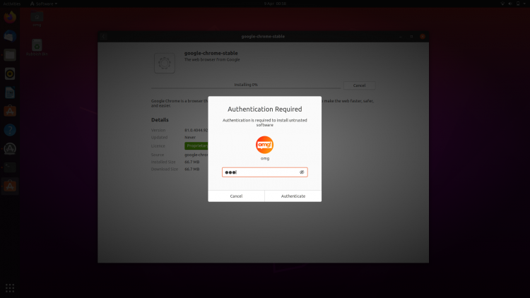 Ubuntu 20.04 screenshot showing authentication dialog