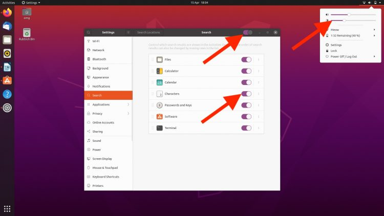 Ubuntu 20.04 screenshot showing purple accents in the UI