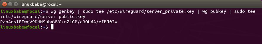wireguard VPN server generate public private key