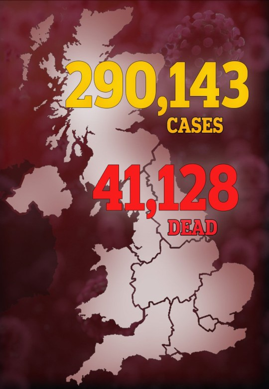 A map showing the number of coronavirus deaths in Great Britain.
