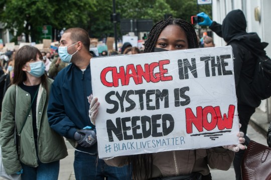 Demonstrators march to Westminster while thousands of others join the Black Lives Matter demonstration.